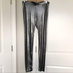 NWT Forever 21 Black Silver Metallic Leggings